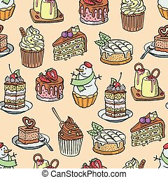 Cakes and cupcakes vector piece of cheesecake for happy birthday party baked chocolate cake and dessert snowman from bakery set illustration seamless pattern background