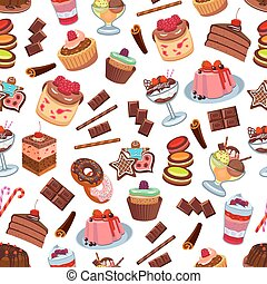 Cakes and patisserie desserts seamless pattern