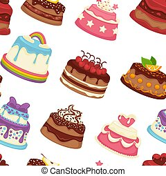 Cakes and pies sweet desserts seamless pattern vector