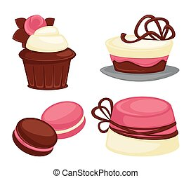 Cakes and sweet pink desserts set vector illustration