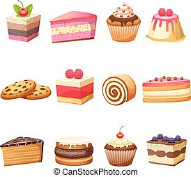 Cakes and sweets set