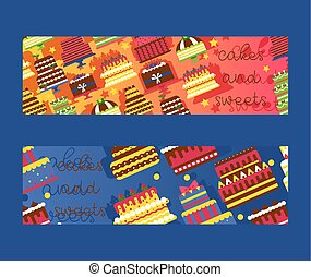 Cakes and sweets set of banners vector illustration. Chocolate and fruity desserts for bakery shop with fresh and tasty cupcakes, cakes, whipped cream, glaze and sprinkles.