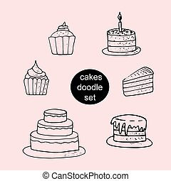 cakes, cupcakes - set of sweets hand drawn in doodle style. collection of elements for design sticker, poster, card, icon. vector, scandinavian, hygge, monochrome. food, desserts