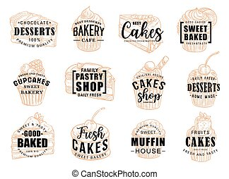 Cakes desserts and pastry sweets sketch lettering - Pastry...