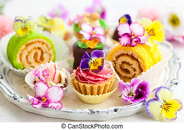 cakes for afternoon tea - Assorted cakes and pastries for...