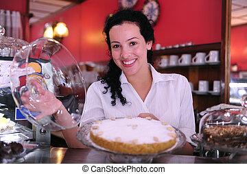 cakes, haar, zakelijk, het tonen, eigenaar, smakelijk, kleine, winkel