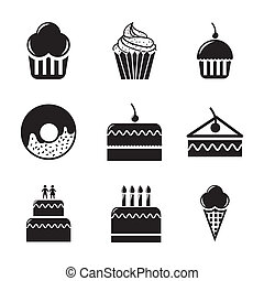 cakes icons over white background. vector illustration