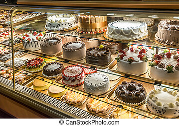 Cakes on display in an Italian Bakery in Little Italy, Bronx, NY