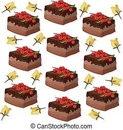 cakes pattern on white background Vector illustration