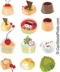 cakes set - beautiful cakes in white background, vector ...