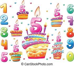 cakes, set, jaar, jarig, getallen, elke, vrolijke