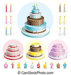 cakes, set, jubileum