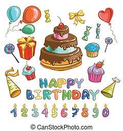 cakes, symbols., kaarsjes, anders, jarig, set, vrolijke