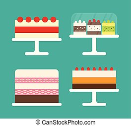 Cakes with Berries, Sweet Bakery on Plate vector