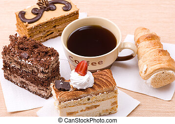 cakes with cup of coffee