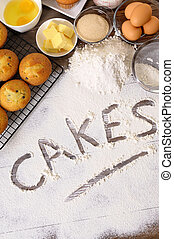 Cakes with ingredients