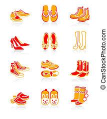 calçado, ícones, |, suculento, série
