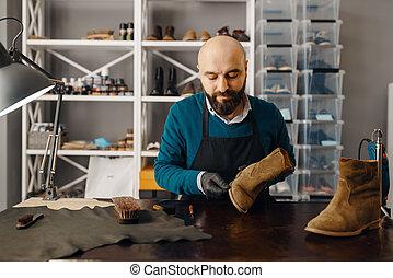 calçado, único, sharpens, reparar, sapato, sapateiro
