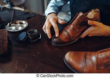 calçado, aplica, polaco, reparar, sapato, sapateiro