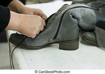 calçado, manufatura, feito à mão