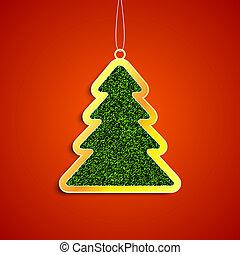 calças brim, árvore, natal