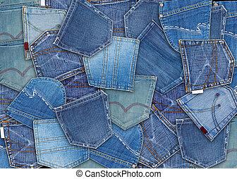 calças brim azuis, bolso