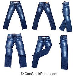 calças brim azuis, isolado, branco
