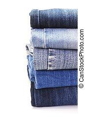 calças brim azuis, pilha