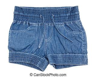 calças brim azuis, shorts