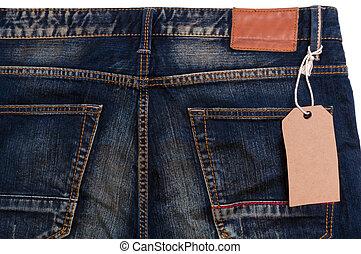 calças brim azuis, tag, detalhe, etiqueta, papel, em branco