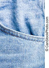 calças brim, bolso