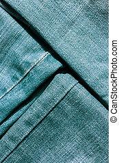 calças brim, close-up, textura, rasgado, mopped, pieces.