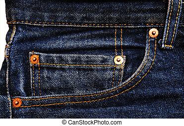 calças brim, denim, algodão, material