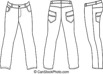 calças brim, homem, costas, (front, vista lateral