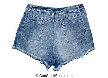calças brim, isolado, shorts