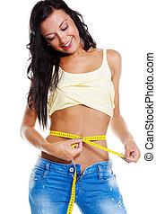 calças brim, mulher, adelgaçar, medida, fita