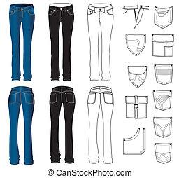 calças brim, roupas, ligado, white.vector