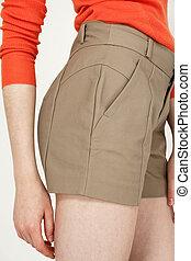 calças curtas, moda, vista lateral