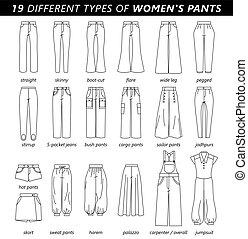 calças, tipos, mulheres
