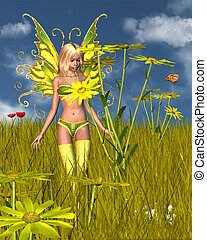caléndula de maíz, hada, en, verano, campo
