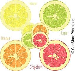 cal, limón, toronja rosa, naranja