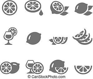 cal, limón, vector, conjunto, iconos