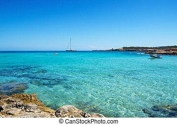 Cala Conta beach in San Antonio, Ibiza Island, Spain