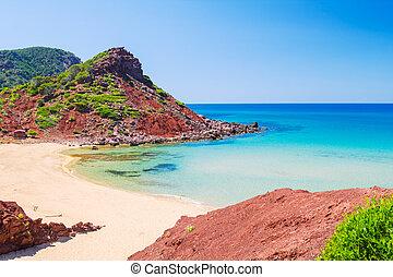 cala, del, pilar, 浜, 景色, 中に, よく晴れた日, ∥において∥, menorca, spain.