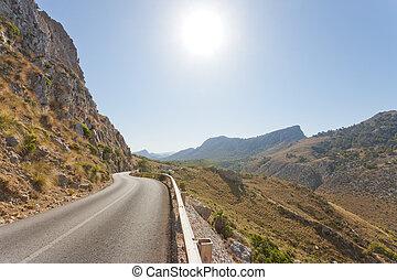 cala, figuera, de, formentor, mallorca, -, ländlicher weg, durch, der, berge, von, formentor
