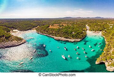 Cala Mondrago - beach in summer, Parque Natural de Mondrago. Santanyi. Malorca. Spain