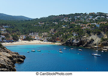 Cala Vadella Ibiza Spain - The beautiful coast of Ibiza,...