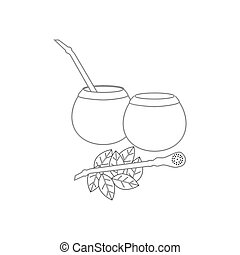 Calabash mate drink on the white background, Vector...