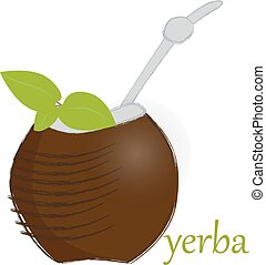 calabash to yerba mate - vector illustration of calabash to...