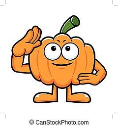 calabaza, carácter, militar, salute., halloween, día, aislado, calabaza, vector, illustration.